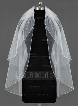 Zweischichtig Fingerspitze Braut Schleier mit Paillettenverzierung Kanten (006034469)