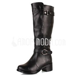 Kunstleder Niederiger Absatz Kniehocher Stiefel mit Schnalle Schuhe (088033802)