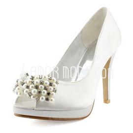 Kvinnor Satäng Cone Heel Peep Toe Plattformen Sandaler med Imitation Pärla Strass (047005768)