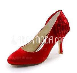 Vrouwen Satijn Stiletto Heel Closed Toe Pumps met Ruched (047010806)