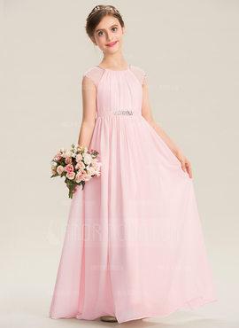 A-Linie U-Ausschnitt Bodenlang Chiffon Kleid für junge Brautjungfern mit Perlstickerei Pailletten (009173303)