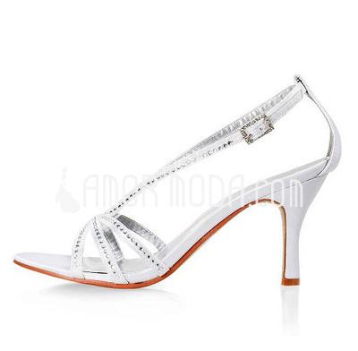 Women's Satin Stiletto Heel Sandals With Buckle Rhinestone (047005863)