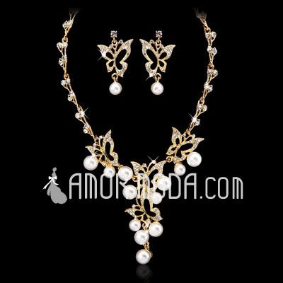 Mode Legierung mit Perlen/Kristall Der damen SchSchmuck Sets (011027558)