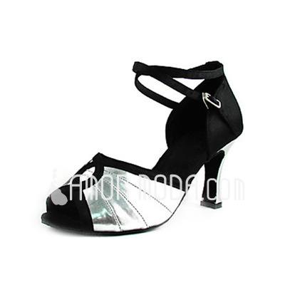 Vrouwen Satijn Imitatieleer Hakken sandalen Latijn Bruiloft Partij met Enkelriempje Dansschoenen (053013367)