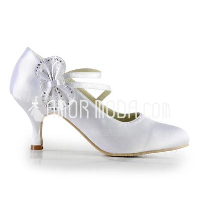 Frauen Satiniert Spule Absatz Geschlossene Zehe Absatzschuhe mit Flakem Straß (047016578)