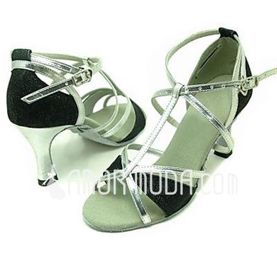 Vrouwen Kunstleer Sprankelende Glitter Sandalen Latijn Ballroom met T-Riempjes Dansschoenen (053013215)