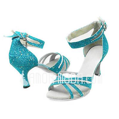 Vrouwen Sprankelende Glitter Hakken Sandalen Latijn Ballroom met Enkelriempje Dansschoenen (053013273)