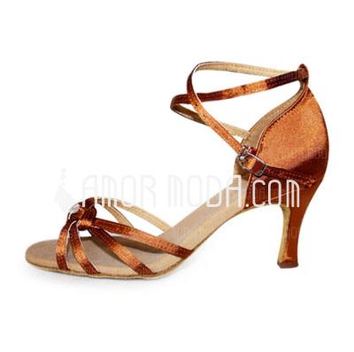 Frauen Satiniert Heels Sandalen Latin mit Knöchelriemen Tanzschuhe (053006989)