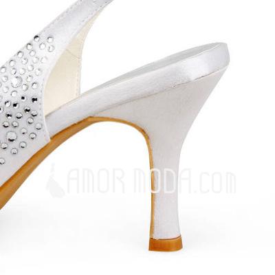 Vrouwen Satijn Stiletto Heel Peep Toe Sandalen Slingbacks met Bergkristal (047011806)