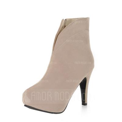 Kunstleder Stöckel Absatz Plateauschuh Stiefelette mit Reißverschluss Schuhe (088036817)