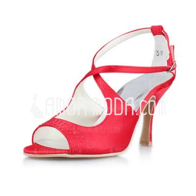 Frauen Satiniert Spule Absatz Sandalen mit Schnalle (047011045)