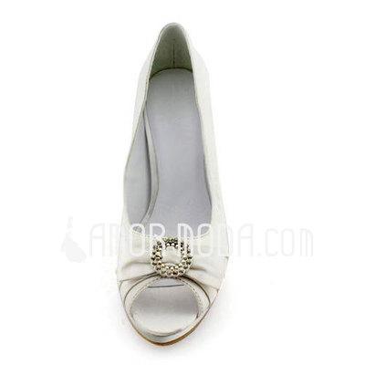 Frauen Satén Stöckel Absatz Peep Toe Plateauschuh Absatzschuhe Sandalen mit Des Bowknot Strass (047011899)
