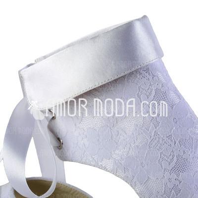 Frauen Lace Satin Spule Absatz Stiefel Peep Toe Sandalen mit Zuschnüren (047026390)