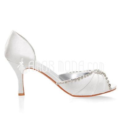 Vrouwen Satijn Stiletto Heel Peep Toe Sandalen met Bergkristal (047005048)