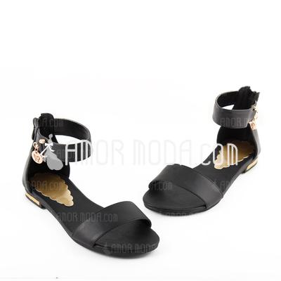 Kunstleder Niederiger Absatz Sandalen mit Schnalle Reißverschluss (087026611)