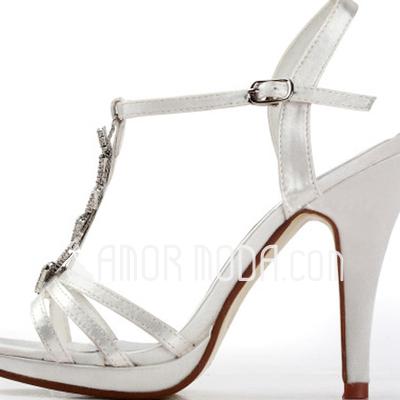 Frauen Satiniert Stöckel Absatz Plateauschuh Sandalen mit Straß (047011850)