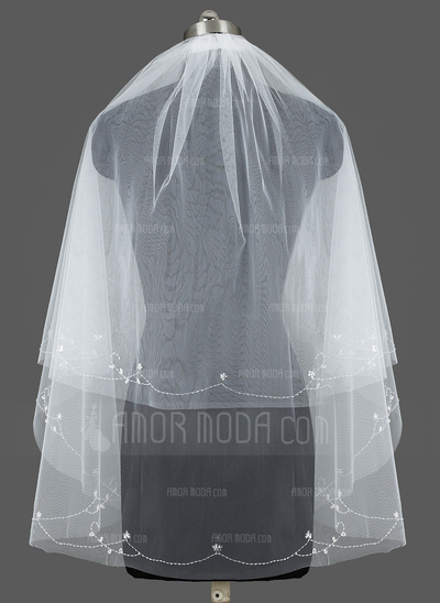 Zweischichtig Ellenbogen Braut Schleier mit Schnittkante (006035427)