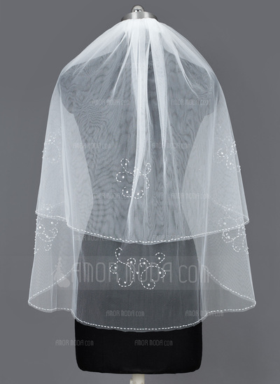 Zweischichtig Ellenbogen Braut Schleier mit Perlenbesetzter Saum (006034206)