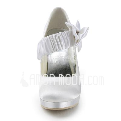 Vrouwen Satijn Cone Heel Closed Toe Plateau Pumps met Strik (047011862)