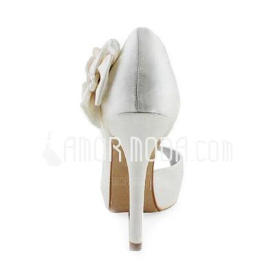 Vrouwen Satijn Stiletto Heel Peep Toe Plateau Sandalen met Satijnen Bloem (047011056)