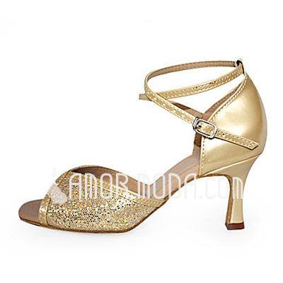 Vrouwen Imitatieleer Sprankelende Glitter Hakken Sandalen Latijn Ballroom met Enkelriempje Dansschoenen (053013535)