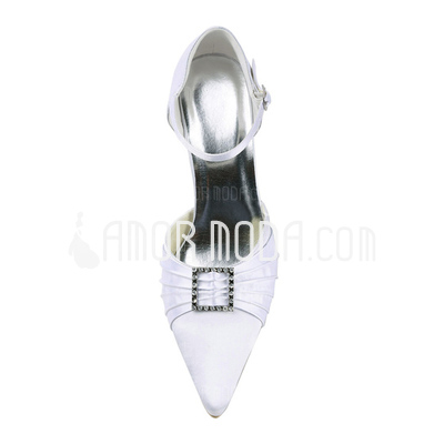 Vrouwen Satijn Stiletto Heel Closed Toe Pumps met Strass (047011052)