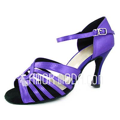 Frauen Satiniert Heels Sandalen Latin mit Schnalle Tanzschuhe (053013350)