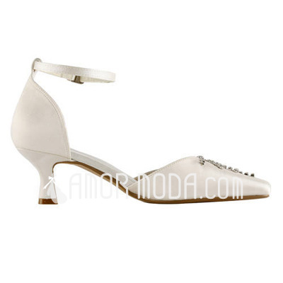 Vrouwen Satijn Spool Hak Closed Toe Pumps met Buckle Bergkristal (047011839)