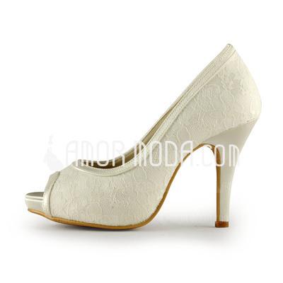 Vrouwen Kant Satijn Stiletto Heel Peep Toe Plateau Sandalen (047011229)