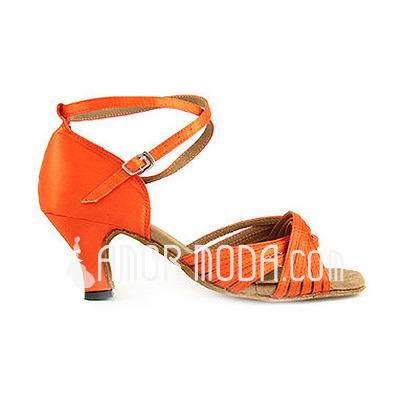 Frauen Satiniert Heels Sandalen Latin mit Knöchelriemen Tanzschuhe (053013039)