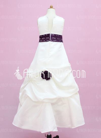 A-Line/Princess Floor-length Flower Girl Dress - Satin Sleeveless Scoop Neck With Sash/Beading/Flower(s)/Sequins/Pick Up Skirt (010002149)