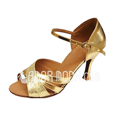 Vrouwen Sprankelende Glitter Patent Leather Hakken Sandalen Latijn Bruiloft Partij Dansschoenen (053013146)