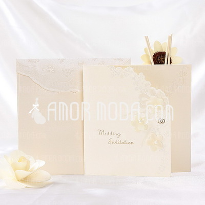 Floral Style Tri-Fold Invitation Cards (Set of 10) (114032362)