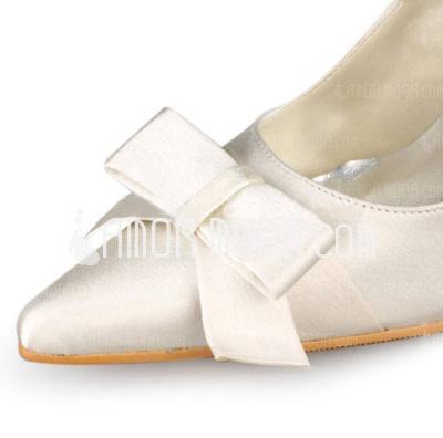 Frauen Satiniert Stöckel Absatz Geschlossene Zehe Absatzschuhe mit Flakem (047010751)