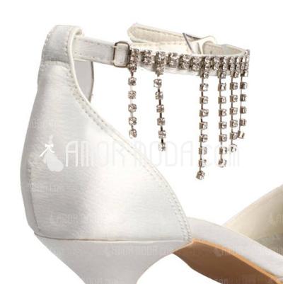 Vrouwen Satijn Spool Hak Closed Toe Pumps met Buckle Bergkristal (047010747)