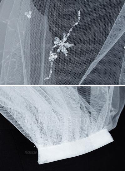 Zweischichtig Ellenbogen Braut Schleier mit Perlenbesetzter Saum (006035448)