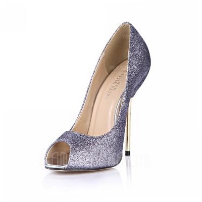 Frauen Funkelnde Glitzer Stöckel Absatz Sandalen Absatzschuhe Peep Toe Schuhe (087051813)