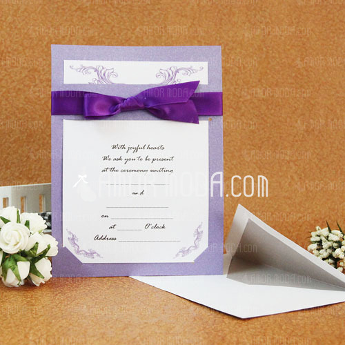 Estilo clásico Tarjeta plana Invitation Cards con Cintas (Juego de 50) (114030779)