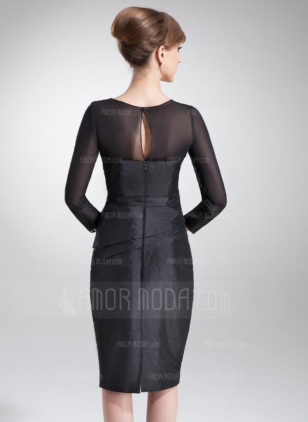 Etui-Linie Rechteckiger Ausschnitt Knielang Taft Kleid für die Brautmutter mit Rüschen Perlen verziert (008006179)