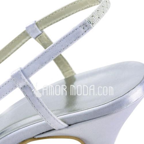 Frauen Satiniert Stöckel Absatz Geschlossene Zehe Absatzschuhe Slingpumps mit Straß (047011851)