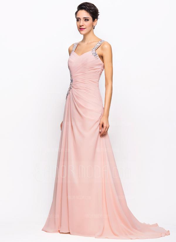 A-Line/Princess Sweetheart Sweep Train Chiffon Evening Dress With Ruffle Beading Sequins (017022730)