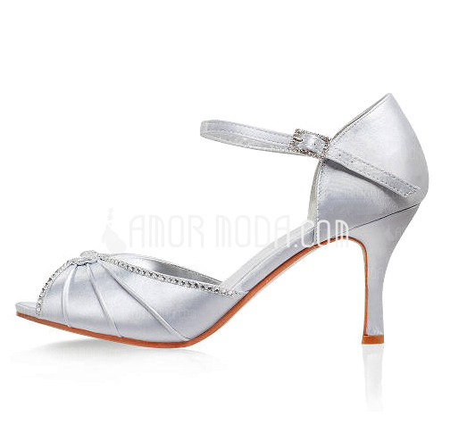 Women's Satin Stiletto Heel Sandals With Buckle Rhinestone (047005113)