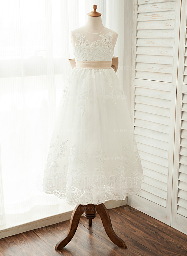 A-Line/Princess Ankle-length Flower Girl Dress - Satin/Tulle/Lace Sleeveless Scoop Neck With Sash/Bow(s) (010122548)