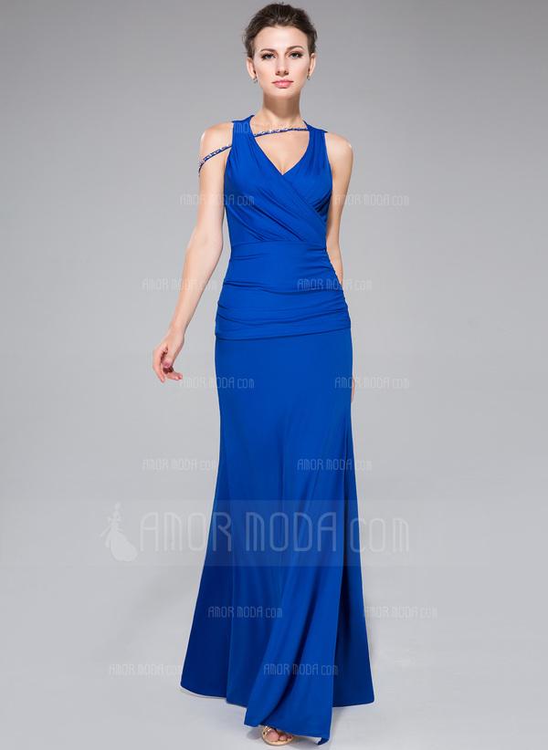 Etui-Linie Wellenkante Bodenlang Jersey Abendkleid mit Rüschen Perlen verziert Schlitz Vorn (017047388)