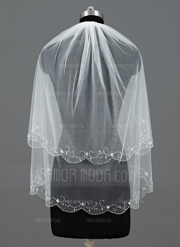 Zweischichtig Ellenbogen Braut Schleier mit Perlenbesetzter Saum (006035488)