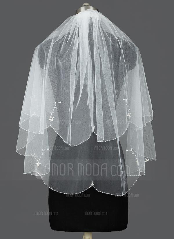 Zweischichtig Ellenbogen Braut Schleier mit Perlenbesetzter Saum (006035426)