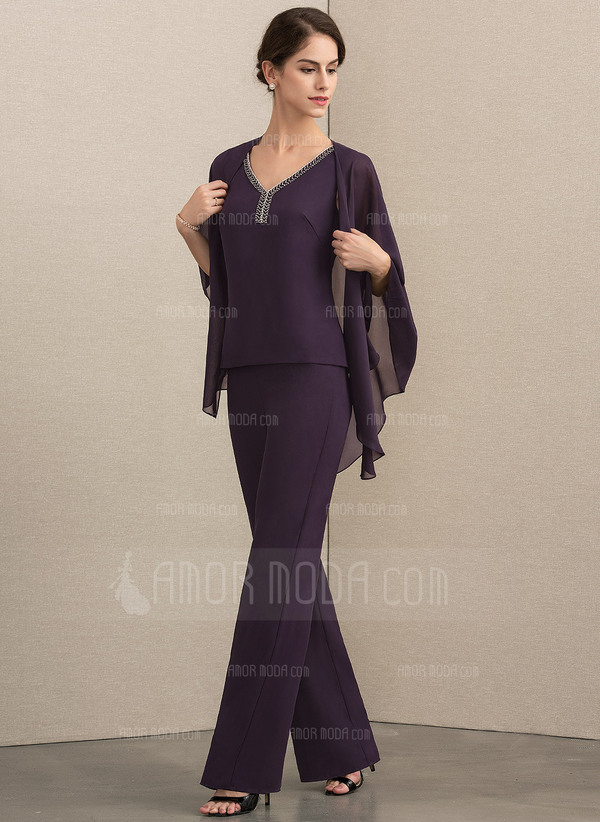 V-neck Floor-Length Chiffon Mother of the Bride Dress With Beading (008164064)