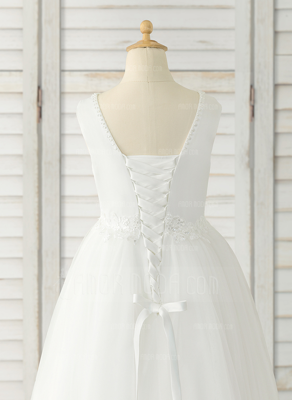 Ball-Gown/Princess Chapel Train/Detachable Flower Girl Dress - Tulle/Lace Sleeveless Scoop Neck (010183557)