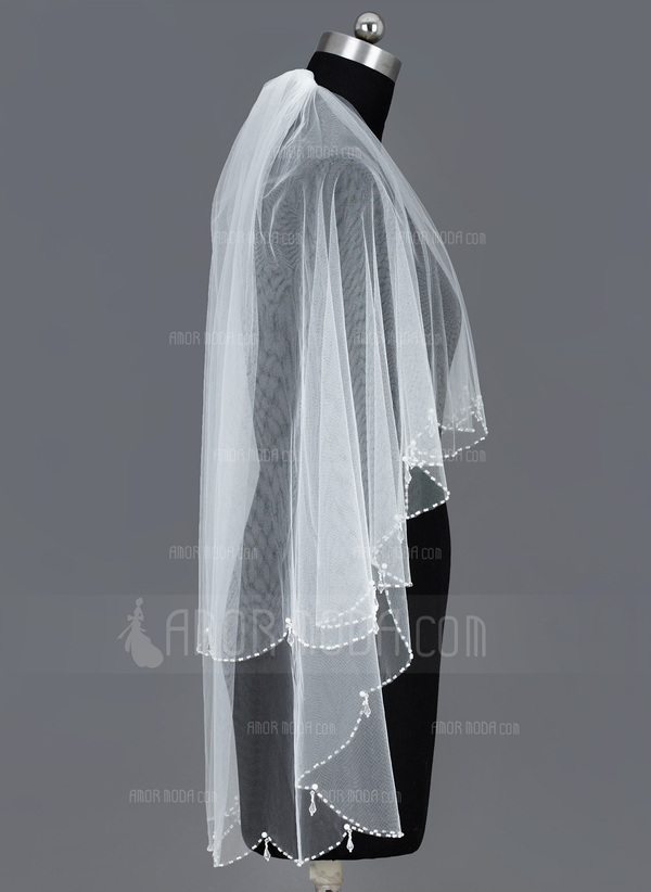 Zweischichtig Fingerspitze Braut Schleier mit Perlenbesetzter Saum (006035491)