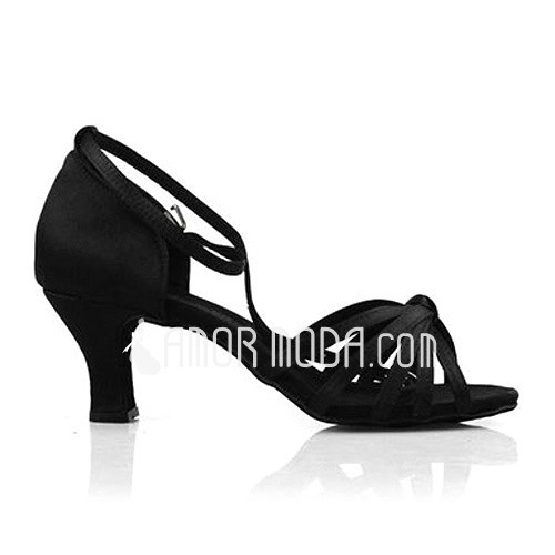 Women's Satin Heels Sandals Latin Dance Shoes (053012980)